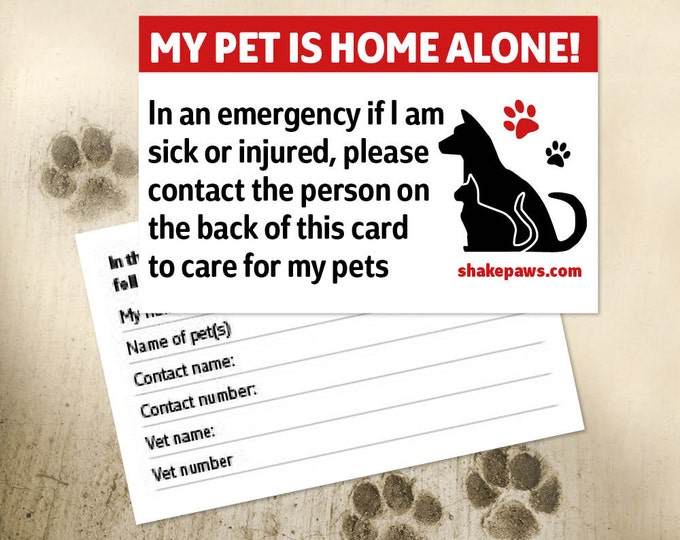 Shake Paws' Home Alone Pet Safety Card