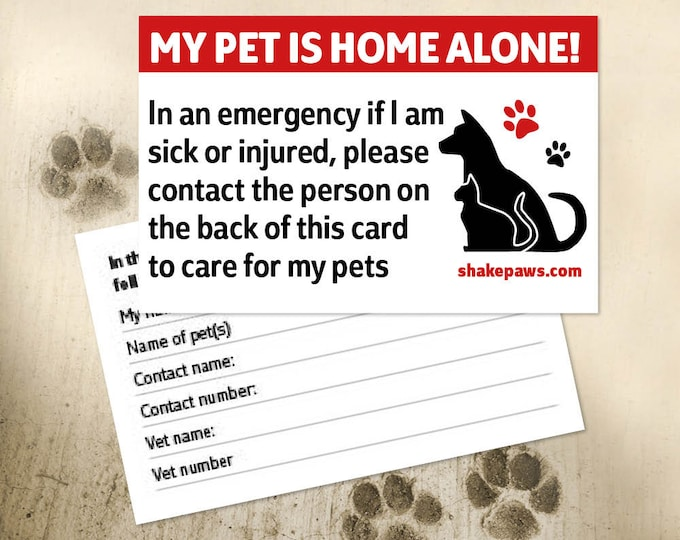 Shake Paws' Home Alone Pet Safety Card, Christmas gifts, birthday gifts, ICE