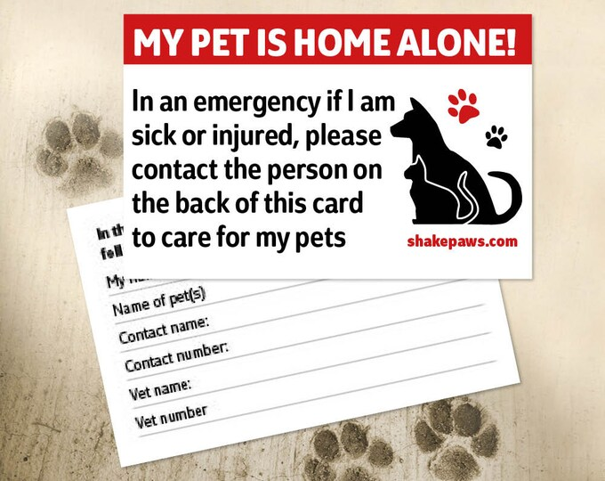 Shake Paws' Home Alone Pet Safety Card – Red, Mother's Day gift, Father's Day gift