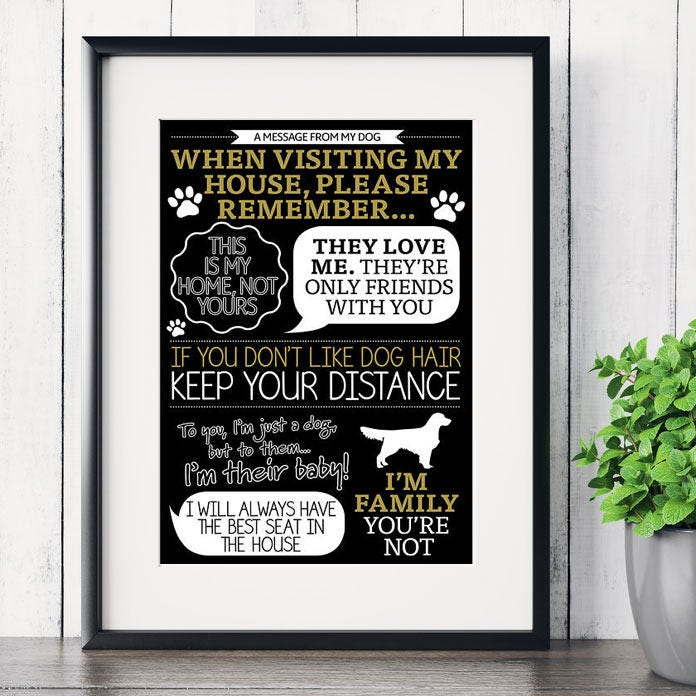 Personalised message from dog funny art print 'When visiting my
