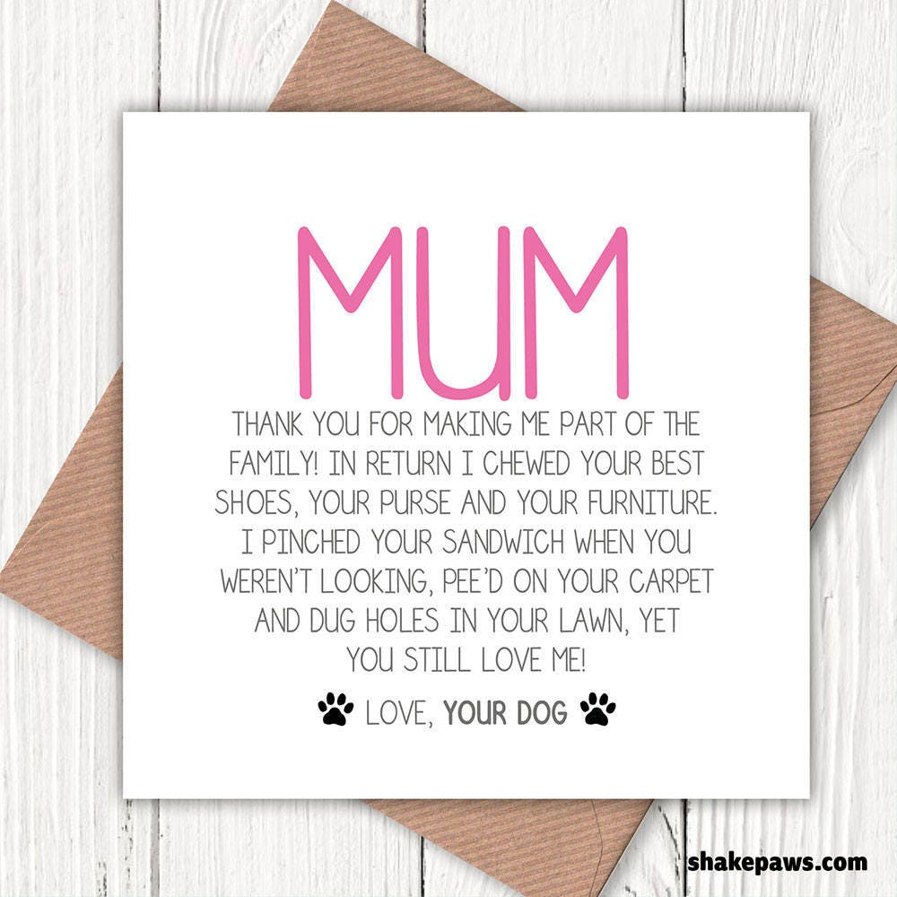 Funny Mum Greetings Card From The Dog Lovers
