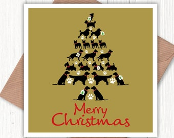 Merry Christmas dog tree card, for the dog lover in your life, black labradors