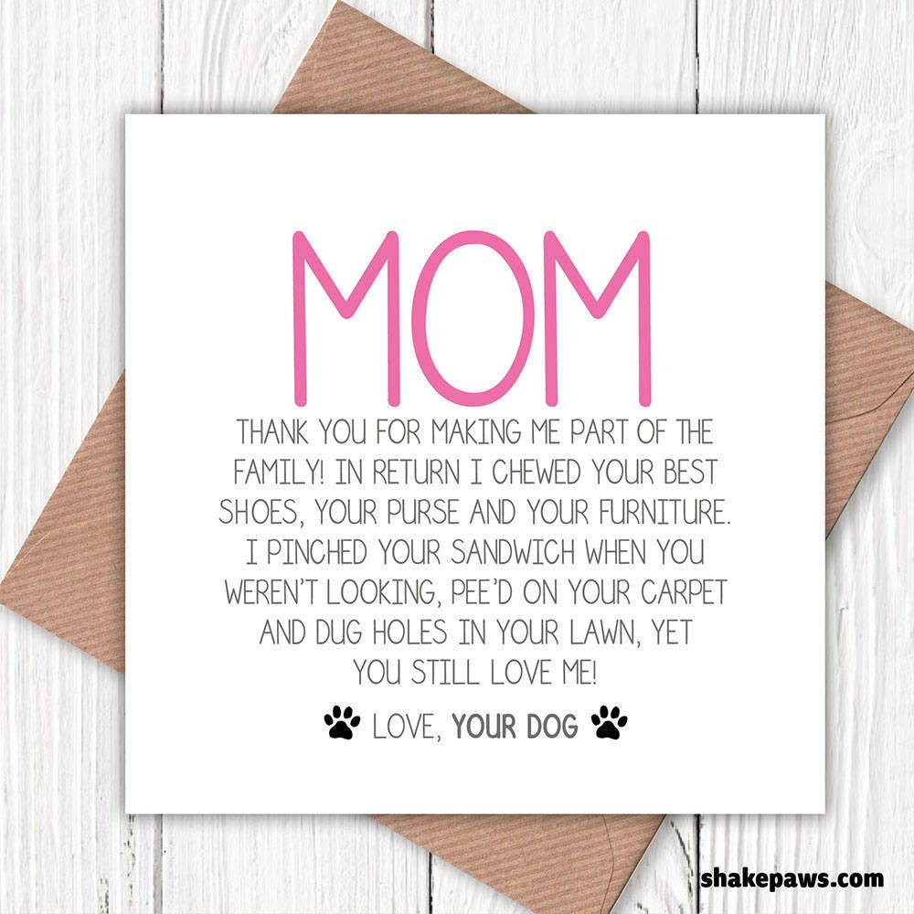 Funny Mum Greetings Card From The Dog Lovers Birthday Mom Mothers Day