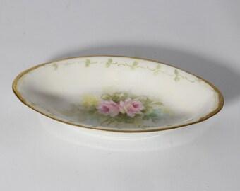 Vintage Porcelain Trinket Dish, Jewelry Dish, Pink Flowers, Vanity Organizer E. McElroy