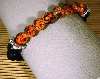 Men's Jasper and Black Stretch Bracelet