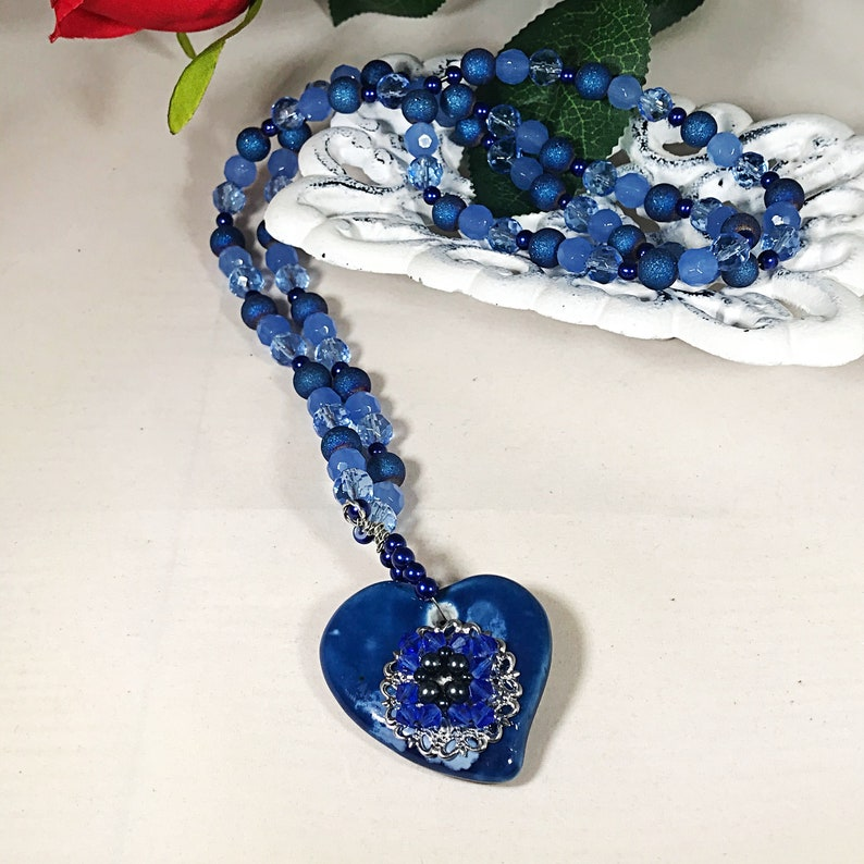 Blue Heart Pendant Key to my Heart Blue Necklace Heart Necklace Ceramic Heart Valentine Jewelry Gifts Long Necklace