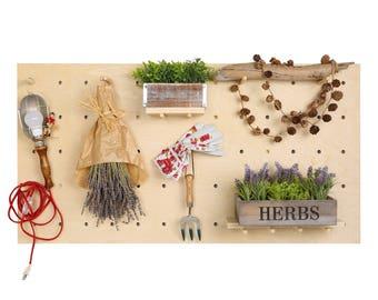 Natural Birch Wood Horizontal Peg Board