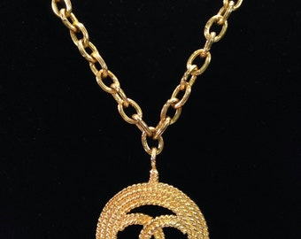 CHANEL - necklace sautoir metal Golden with CHANEL logo in a large Medallion
