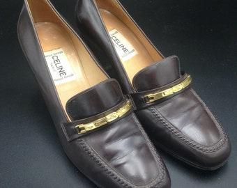 CELINE - Brown leather pumps