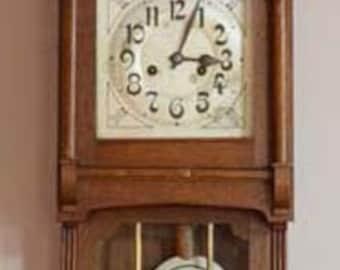 Antique Wall Clock, Circa 1900, Art Nouveau, Oak, German