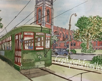 Streetcar at Loyola 5x7 Matted