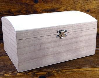 Wooden Chest, Storage Box, Untreated Natural Wood, Large, Vintage, Treasure, DIY, Plain Wood
