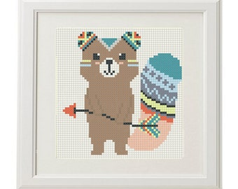 Animals cross stitch be brave pattern printable pdf chart etsy counted cross stitch pattern baby forest animals arrow feathers pens ethnic design baby cross stitch pattern modern cross stitch crossstitch fandeluxe Choice Image