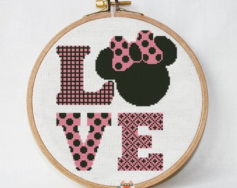 Disney cross stitch pattern Love PDF Pattern Threads funny | Etsy