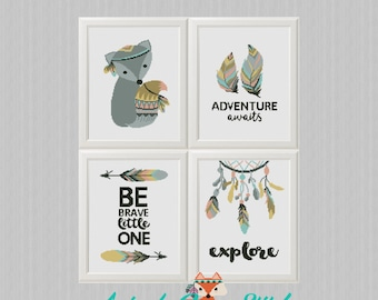 Animals cross stitch be brave pattern printable pdf chart etsy tribal animals cross stitch pattern set 4 printable pdf baby shower gift nursery embroidery fox adventure awaits be brave explore diy fandeluxe Choice Image