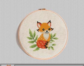 PDF Instant download 7 hoop art Garden Fox cross stitch pattern Sweet Spring modern Nursery decor nature berries flowers Animals