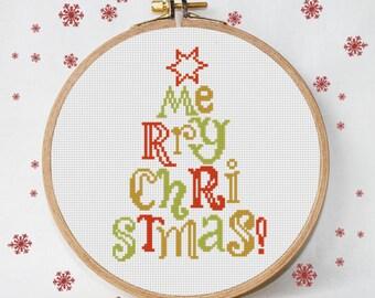 christmas cross stitch pattern modern christmas tree merry christmas modern cross stitch instant download pdf - Free Christmas Cross Stitch Patterns