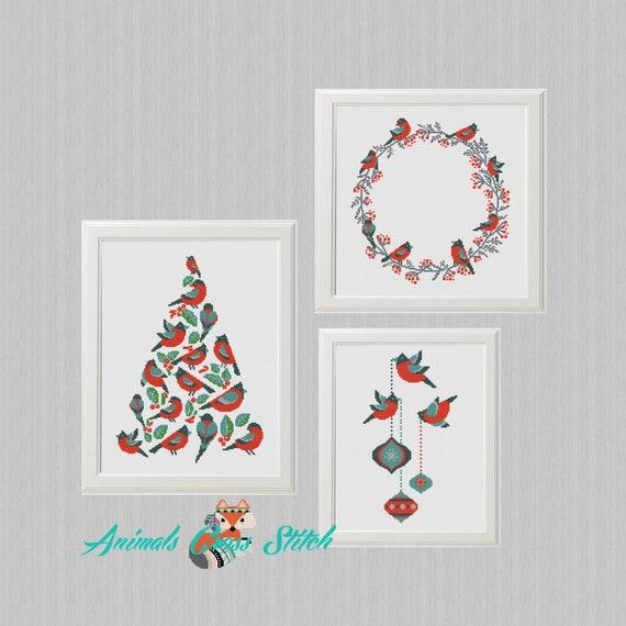 Feliz Navidad Moderno patrón punto cruz Pájaro geométrico | Etsy