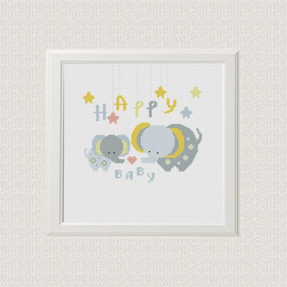Bebé feliz modelo de puntada de cruz elefante | Etsy