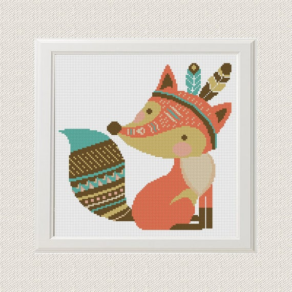 Fox Motif De Point De Croix Renard Stylos Conception Ethnique Etsy