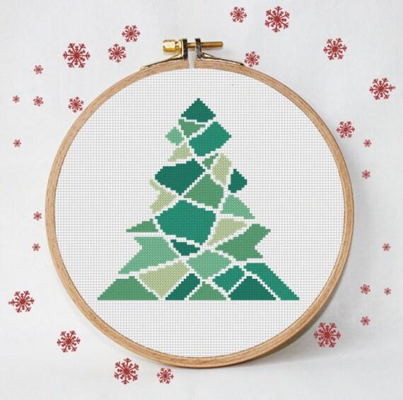 punto cruz de la Navidad triángulos árbol de navidad | Etsy