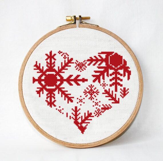 Copo de nieve de la Navidad del corazón patrón de punto de | Etsy