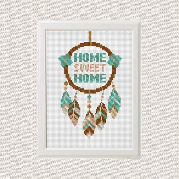 Home sweet home cross stitch pattern dreamcatcher native | Etsy
