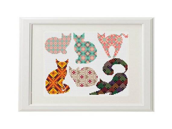 cat mod le de point de croix de chat jeu de 6 chats. Black Bedroom Furniture Sets. Home Design Ideas