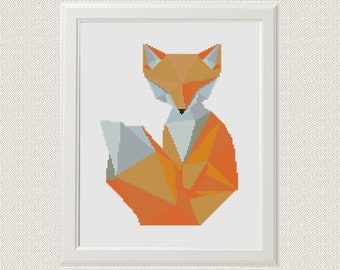Geometric Fox Cross Stitch Pattern PDF  Instant Download