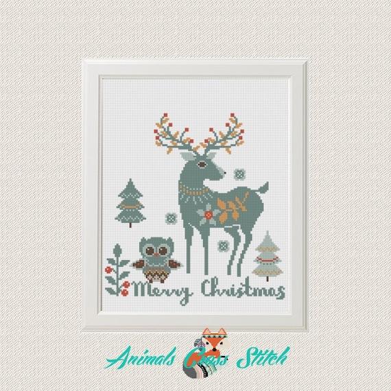Navidad animales patrón de punto de cruz pdf Venado Búho | Etsy