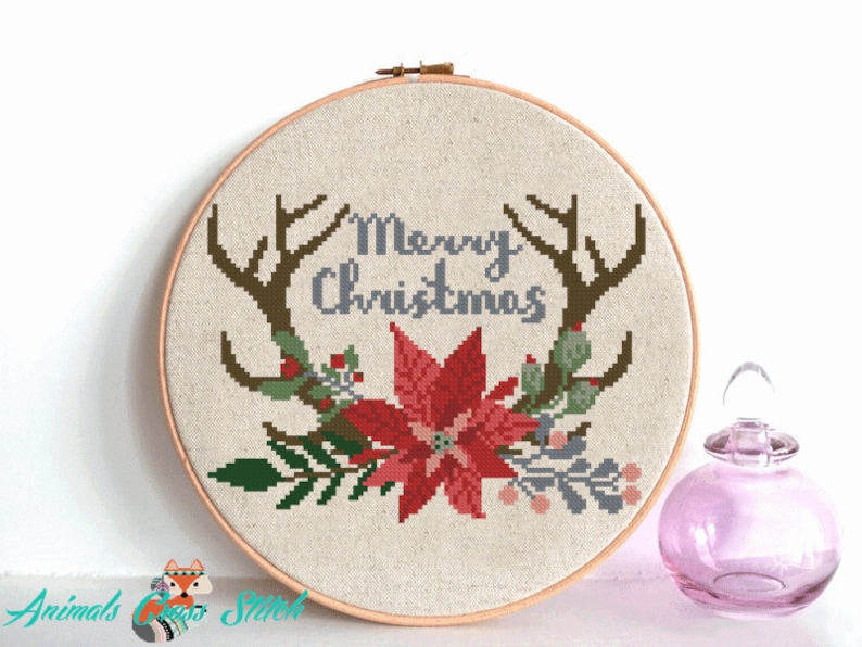 Merry Christmas cross stitch pattern flower antler cross stitch Christmas Ornaments Happy holiday embroidery pdf pattern Christmas quotes