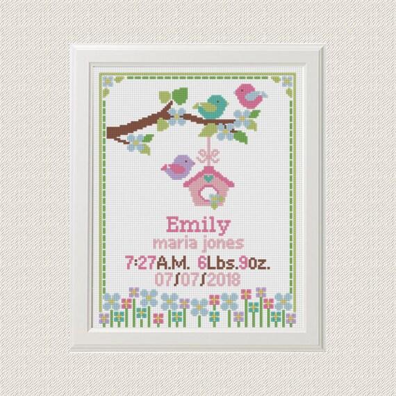 El anuncio bebé del patrón de punto de cruz bebé Aves Flores | Etsy