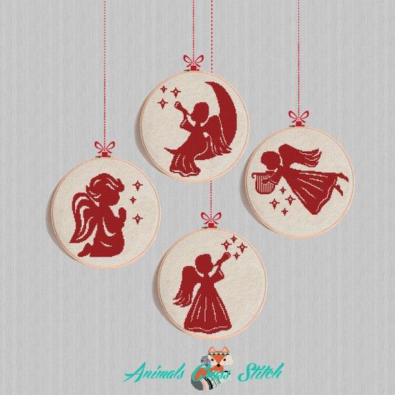 Navidad Ornamento Angel Punto de cruz patrón Felices fiestas | Etsy