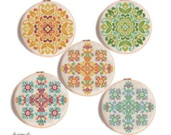 Mandala Cross Stitch Pattern, mandala pattern, mandala  Seasons Wreaths, modern cross stitch, Summer Autumn Winter Spring, Pattern PDF