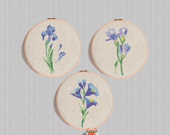 Blue flowers Cross Stitch Pattern, Floral Cross Stitch Watercolor iris, Modern Embroidery Chart, Gift Funny and Easy, Printable PDF