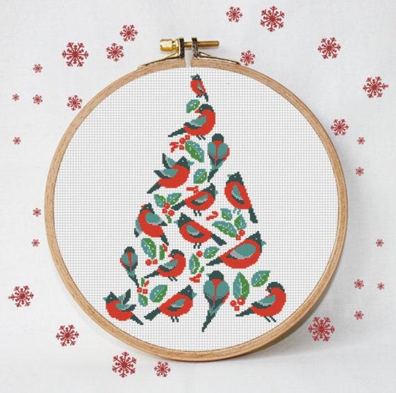 Feliz Navidad árbol patrón punto cruz Pájaro geométrico rojo | Etsy