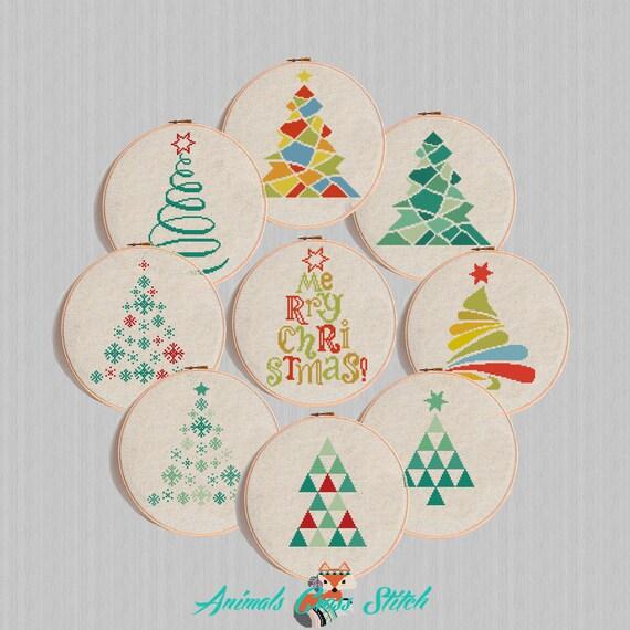 punto cruz de la Navidad triángulos árbol de navidad   Etsy