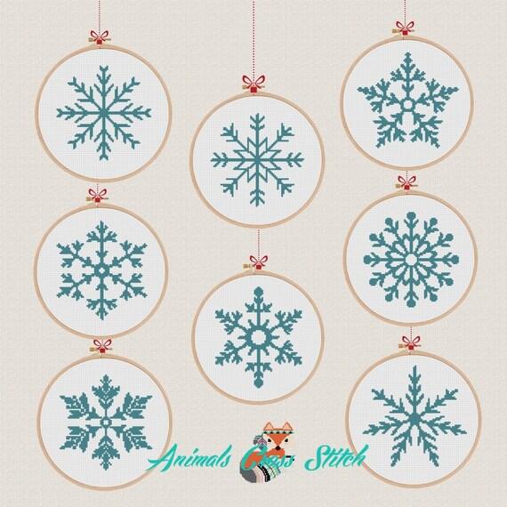 navidad Copos de nieve patrón punto cruz moderno Copos de | Etsy