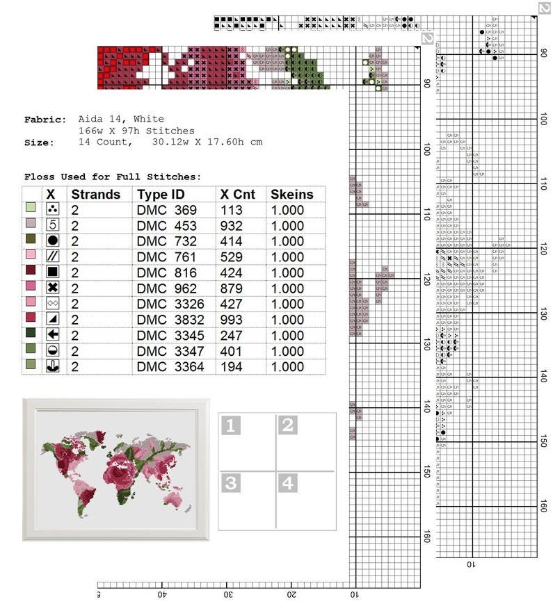 World map cross stitch pattern floral world map silhouette flowers this is a digital file gumiabroncs Gallery