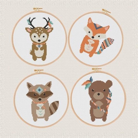Zorro de los ciervos oso mapache punto de cruz patrón Boho | Etsy