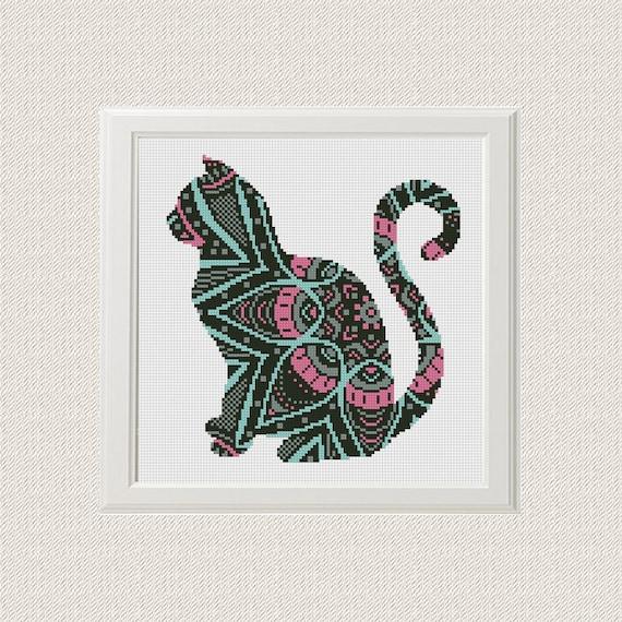 Mandala Gato patrón de punto de cruz pdf | Etsy