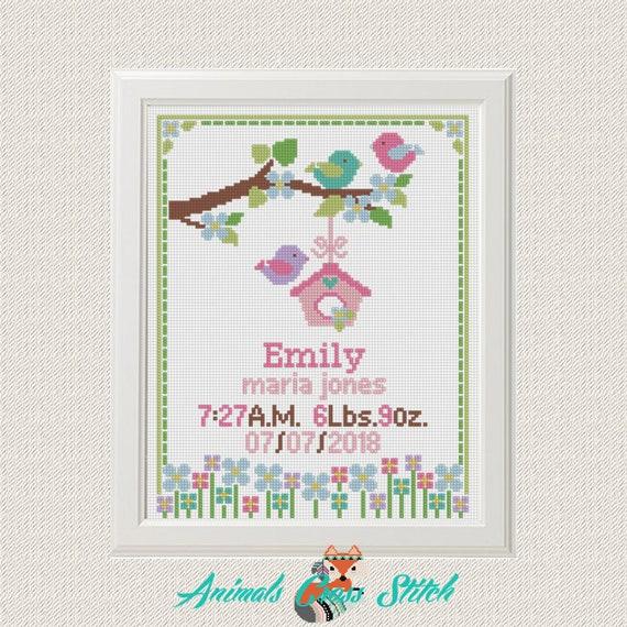 Girl personalized sampler U Birth announcement cross stitch pattern Ornamental initials sampler alphabet letters art decor birth stat