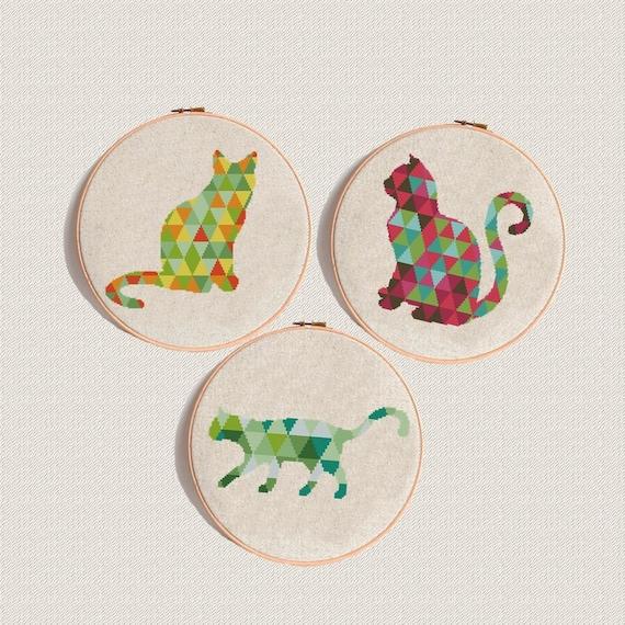 Cat patrón de punto de cruz gato juego de 3 gatos lindos cruz