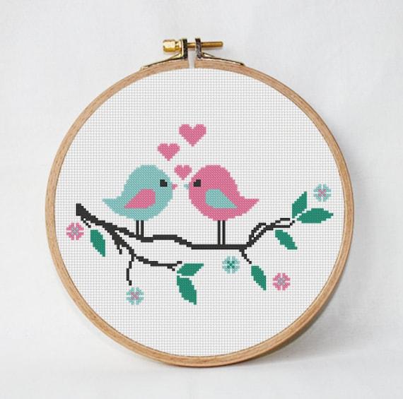Modern Frühling Liebe Kreuzstich Muster Baum mit Vogel | Etsy