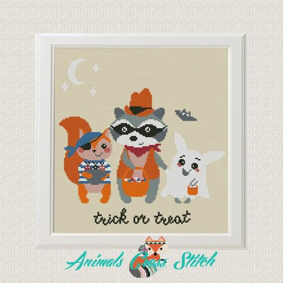 Animales lindos patrón punto cruz Halloween divertidos dibujos   Etsy