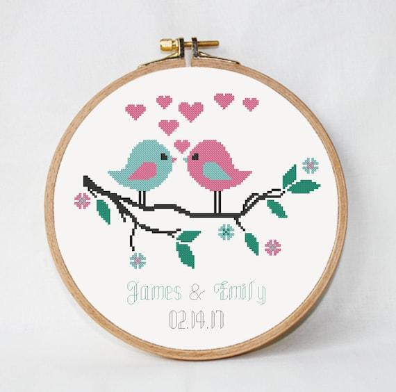 Moderno patrón de punto de cruz de la boda pájaros de la | Etsy