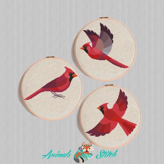 Moderno patrón punto cruz Pájaro geométrico rojo cardenal | Etsy