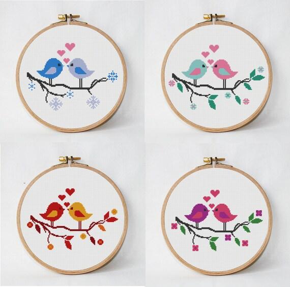 4 patrón de punto de cruz árbol con pájaros 4 estaciones | Etsy