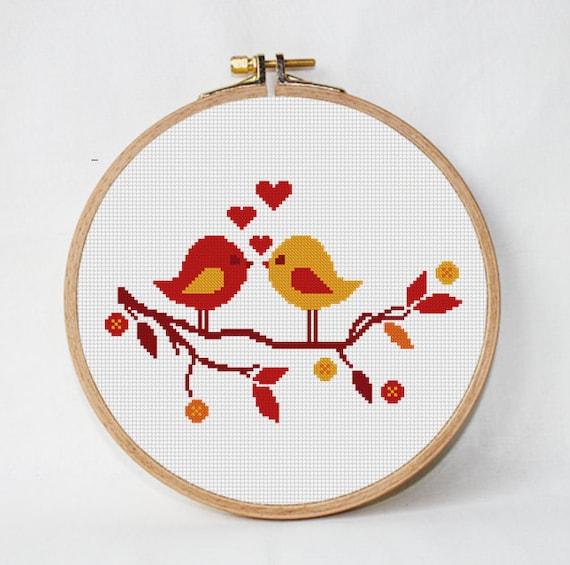 Árbol de patrón de puntada cruz con pájaros punto de cruz de | Etsy