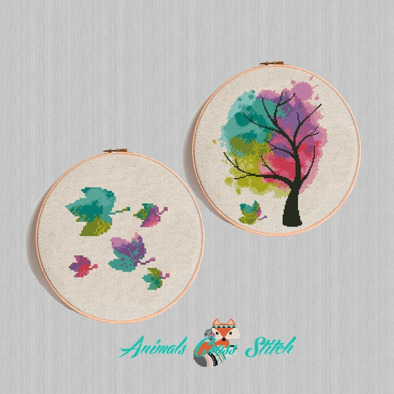 Tree And Leaves Cross Stitch Pattern Modern Watercolor Etsy